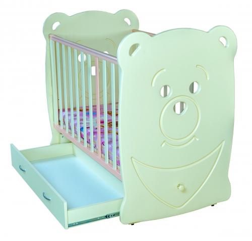 детская кровать мишка с ящиками открытыми